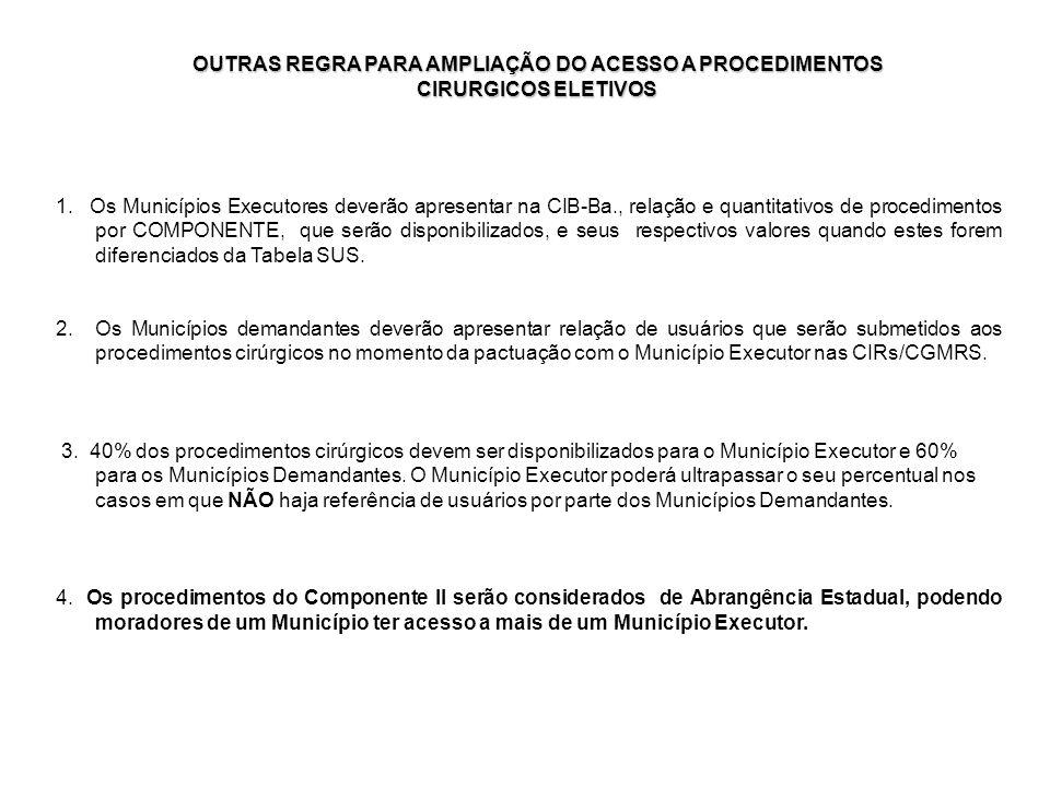 1. Os Municípios Executores deverão apresentar na CIB-Ba., relação e quantitativos de procedimentos por COMPONENTE, que serão disponibilizados, e seus