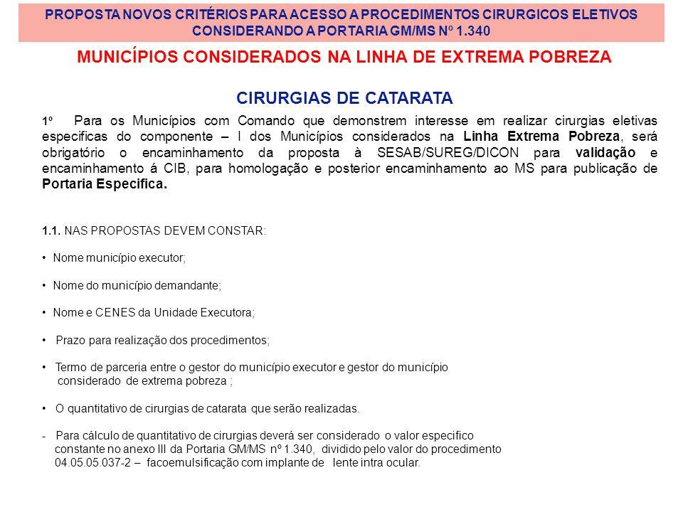 MUNICÍPIOS CONSIDERADOS NA LINHA DE EXTREMA POBREZA CIRURGIAS DE CATARATA 1º Para os Municípios com Comando que demonstrem interesse em realizar cirur