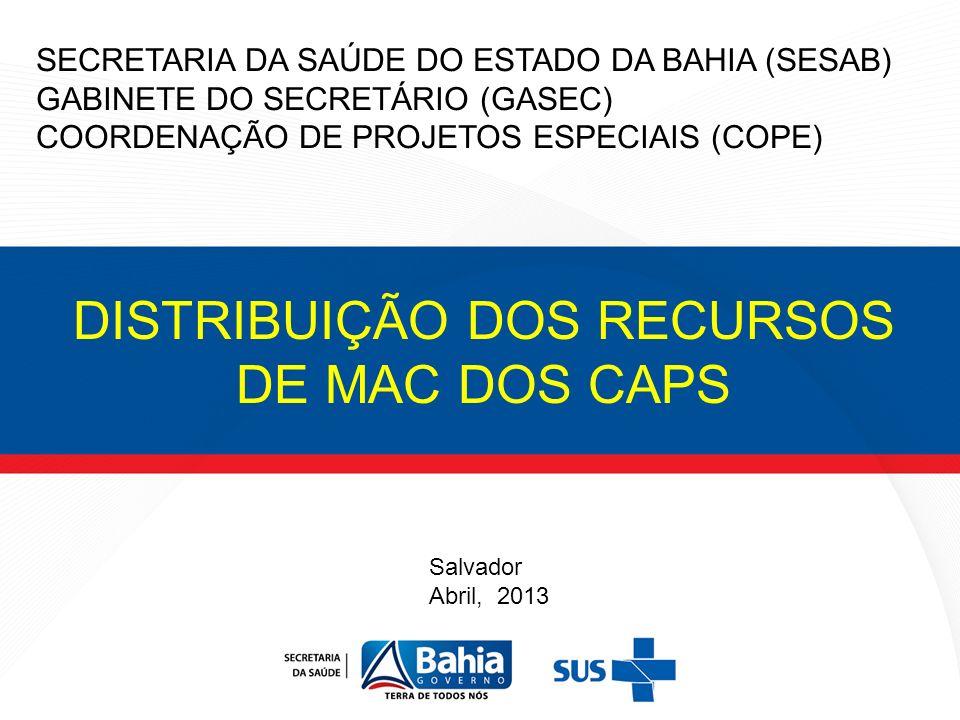 DISTRIBUIÇÃO DOS RECURSOS DE MAC DOS CAPS SECRETARIA DA SAÚDE DO ESTADO DA BAHIA (SESAB) GABINETE DO SECRETÁRIO (GASEC) COORDENAÇÃO DE PROJETOS ESPECI