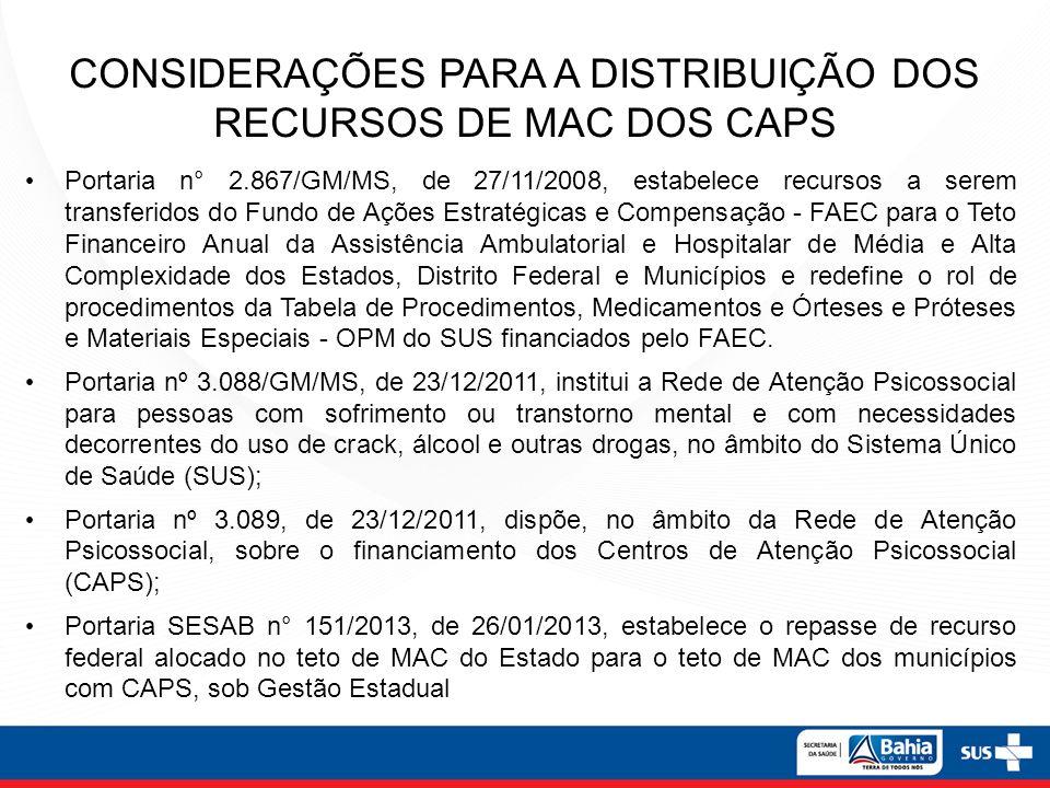 CONSIDERAÇÕES PARA A DISTRIBUIÇÃO DOS RECURSOS DE MAC DOS CAPS Portaria n° 2.867/GM/MS, de 27/11/2008, estabelece recursos a serem transferidos do Fun