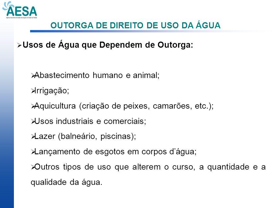 OUTORGA DE DIREITO DE USO DA ÁGUA Usos de Água que Dependem de Outorga: Abastecimento humano e animal; Irrigação; Aquicultura (criação de peixes, cama