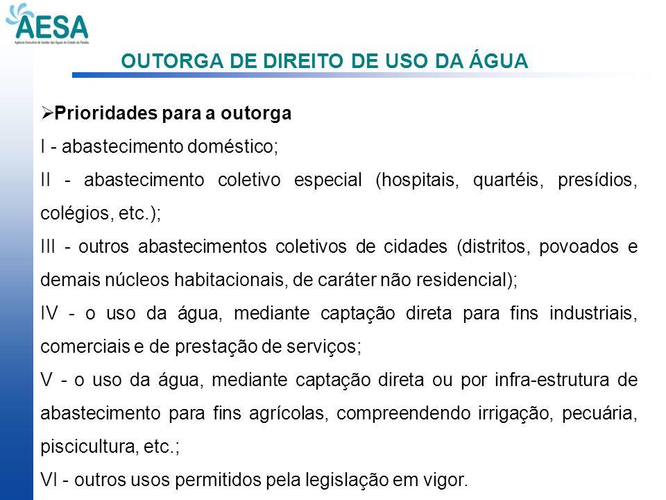 OUTORGA DE DIREITO DE USO DA ÁGUA Prioridades para a outorga I - abastecimento doméstico; II - abastecimento coletivo especial (hospitais, quartéis, p