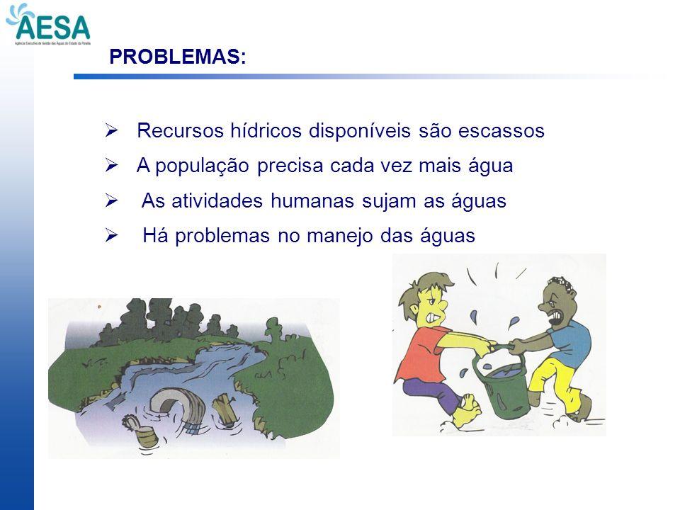 PROBLEMAS: Recursos hídricos disponíveis são escassos A população precisa cada vez mais água As atividades humanas sujam as águas Há problemas no mane