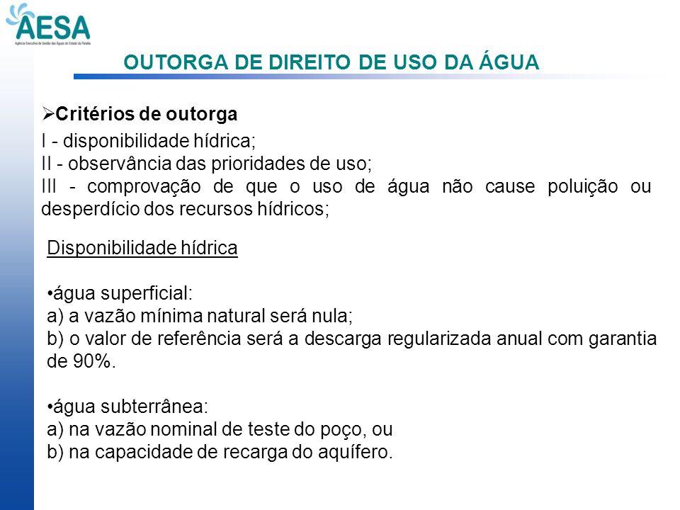 OUTORGA DE DIREITO DE USO DA ÁGUA Critérios de outorga I - disponibilidade hídrica; II - observância das prioridades de uso; III - comprovação de que