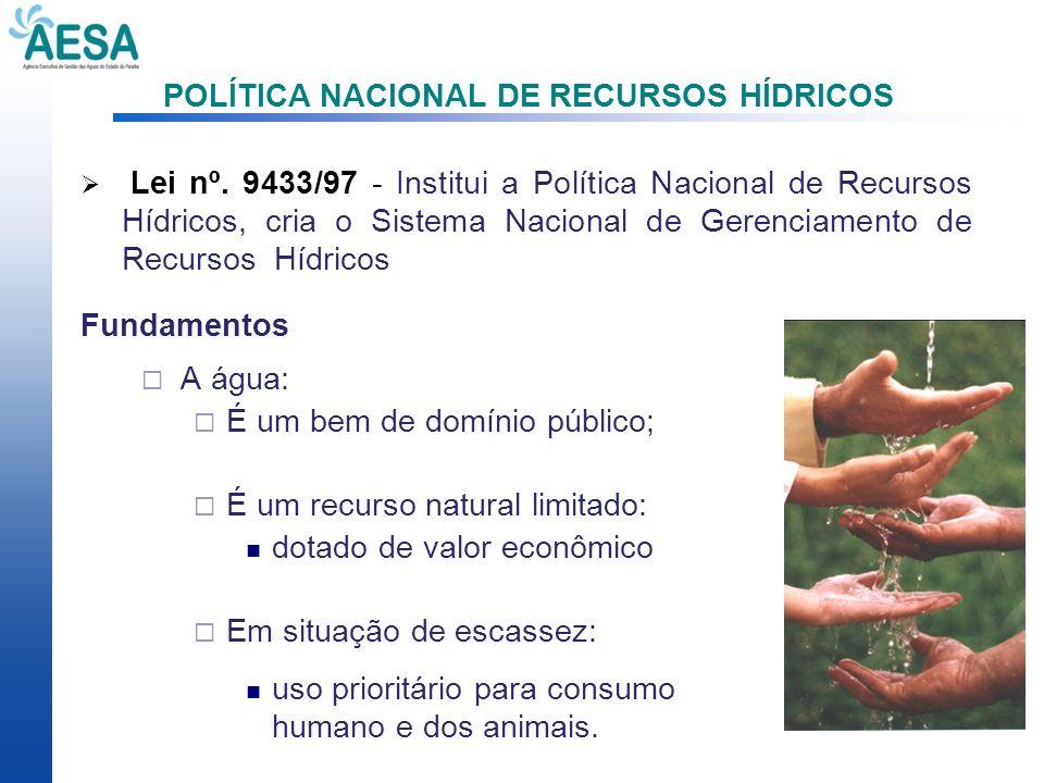 POLÍTICA NACIONAL DE RECURSOS HÍDRICOS Lei nº. 9433/97 - Institui a Política Nacional de Recursos Hídricos, cria o Sistema Nacional de Gerenciamento d