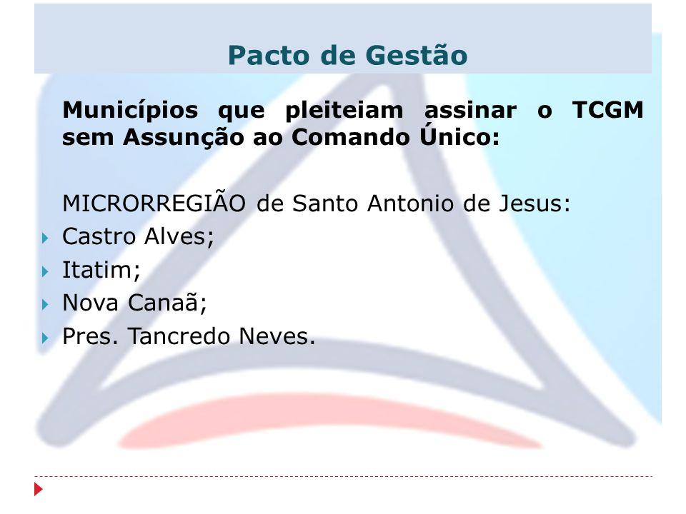 Pacto de Gestão Municípios que pleiteiam assinar o TCGM sem Assunção ao Comando Único: MICRORREGIÃO de Santo Antonio de Jesus: Castro Alves; Itatim; N
