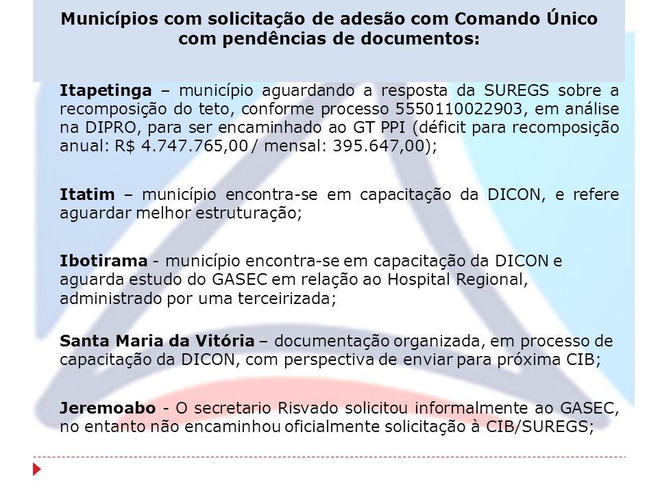 Municípios com solicitação de adesão com Comando Único com pendências de documentos: Itapetinga – município aguardando a resposta da SUREGS sobre a re