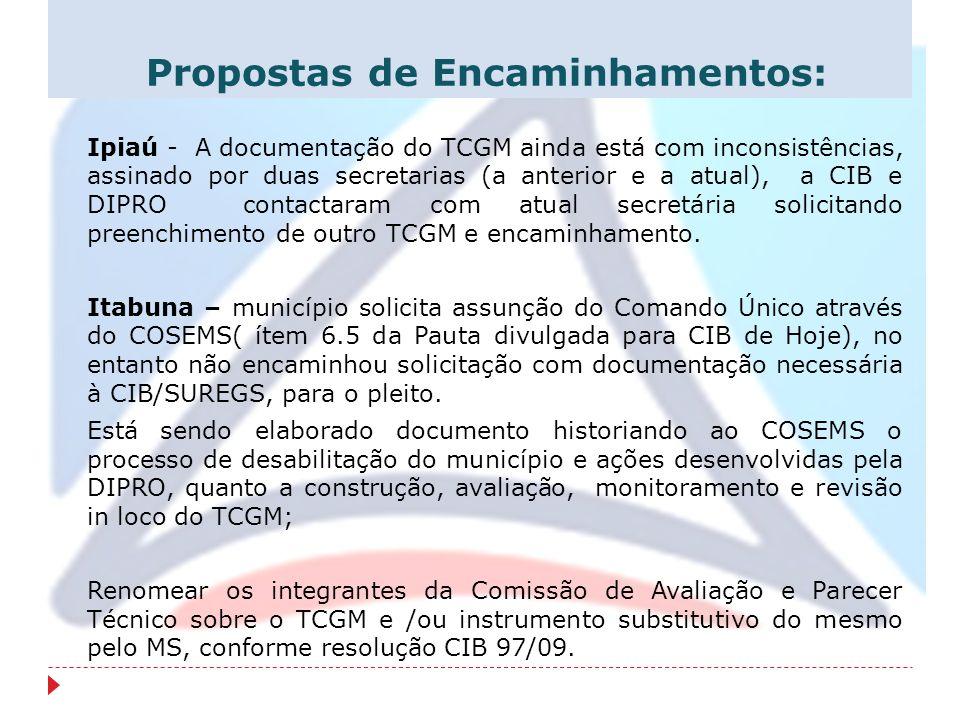 Propostas de Encaminhamentos: Ipiaú - A documentação do TCGM ainda está com inconsistências, assinado por duas secretarias (a anterior e a atual), a C