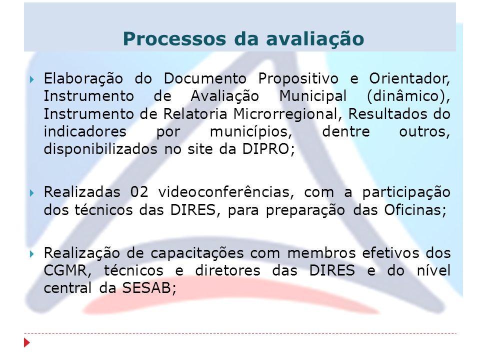 Processos da avaliação Elaboração do Documento Propositivo e Orientador, Instrumento de Avaliação Municipal (dinâmico), Instrumento de Relatoria Micro