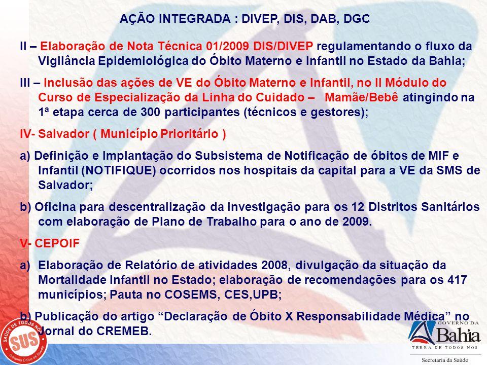AÇÃO INTEGRADA : DIVEP, DIS, DAB, DGC II – Elaboração de Nota Técnica 01/2009 DIS/DIVEP regulamentando o fluxo da Vigilância Epidemiológica do Óbito M