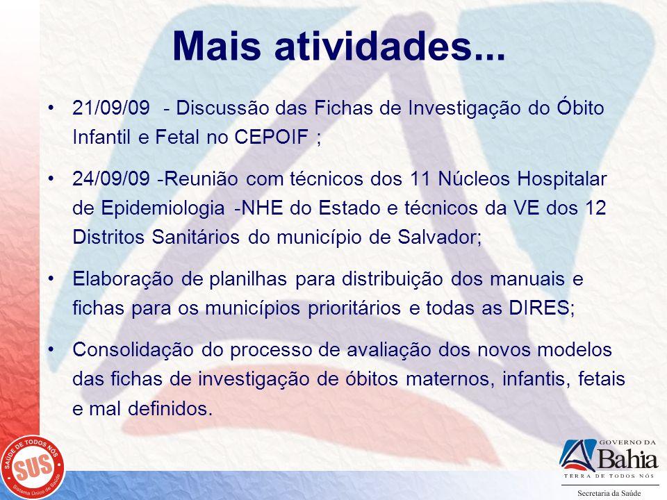 Mais atividades... 21/09/09 - Discussão das Fichas de Investigação do Óbito Infantil e Fetal no CEPOIF ; 24/09/09 -Reunião com técnicos dos 11 Núcleos