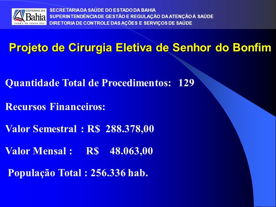 SECRETARIA DA SAÚDE DO ESTADO DA BAHIA SUPERINTENDÊNCIA DE GESTÃO E REGULAÇÃO DA ATENÇÃO À SAÚDE DIRETORIA DE CONTROLE DAS AÇÕES E SERVIÇOS DE SAÚDE Projeto de Cirurgia Eletiva de Senhor do Bonfim Quantidade Total de Procedimentos: 129 Recursos Financeiros: Valor Semestral : R$ 288.378,00 Valor Mensal : R$ 48.063,00 População Total : 256.336 hab.