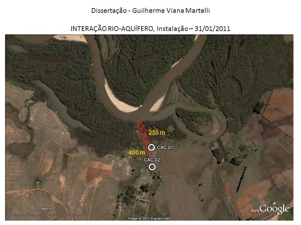 Dissertação - Guilherme Viana Martelli INTERAÇÃO RIO-AQUÍFERO, Instalação – 31/01/2011 250 m 400 m