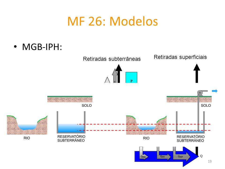 MF 26: Modelos MGB-IPH: Retiradas subterrâneas Retiradas superficiais 19