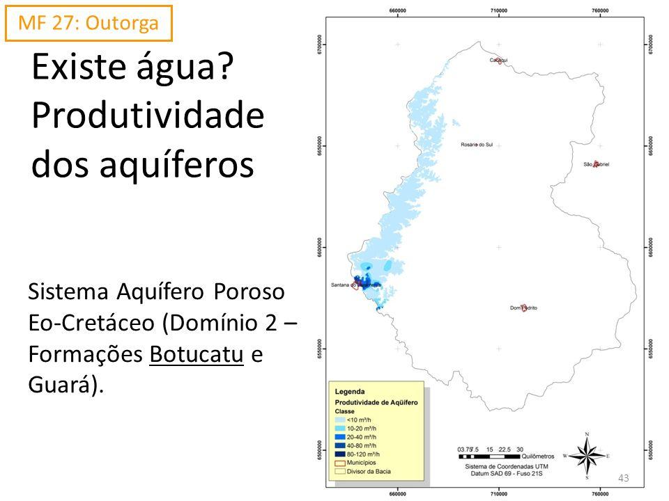 Existe água? Produtividade dos aquíferos Sistema Aquífero Poroso Eo-Cretáceo (Domínio 2 – Formações Botucatu e Guará). MF 27: Outorga 43