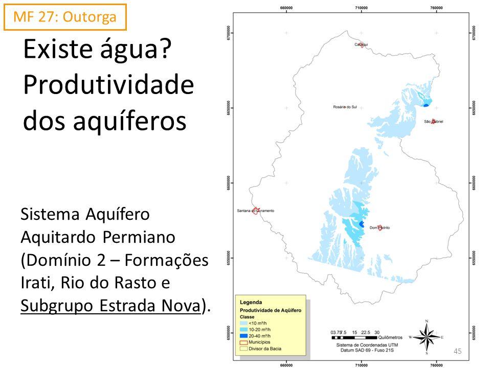 Existe água? Produtividade dos aquíferos Sistema Aquífero Aquitardo Permiano (Domínio 2 – Formações Irati, Rio do Rasto e Subgrupo Estrada Nova). MF 2