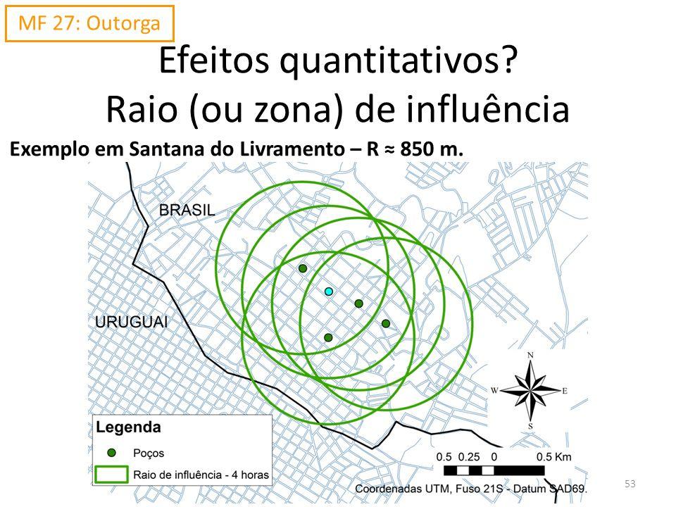Exemplo em Santana do Livramento – R 850 m. Efeitos quantitativos? Raio (ou zona) de influência MF 27: Outorga 53