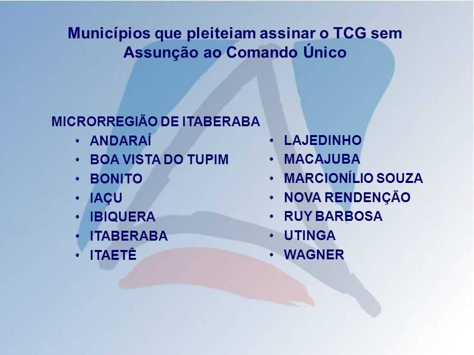 Municípios que pleiteiam assinar o TCG sem Assunção ao Comando Único MICRORREGIÃO DE ITABERABA ANDARAÍ BOA VISTA DO TUPIM BONITO IAÇU IBIQUERA ITABERA