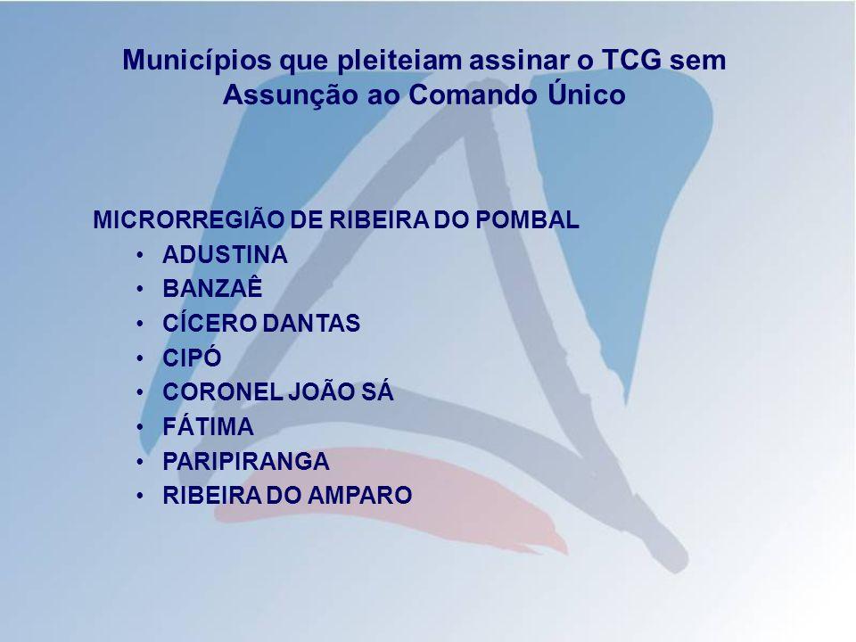 Municípios que pleiteiam assinar o TCG sem Assunção ao Comando Único MICRORREGIÃO DE PAULO AFONSO ABARÉ CHORROCHÓ MACURURE