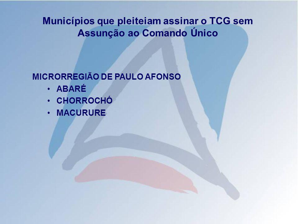 Municípios que pleiteiam assinar o TCG sem Assunção ao Comando Único MICRORREGIÃO DE BRUMADO ARACATU DOM BASILIO ÉRICO CARDOSO GUAJERU IBIPITANGA ITUAÇU JUSSIAPE TANHAÇU