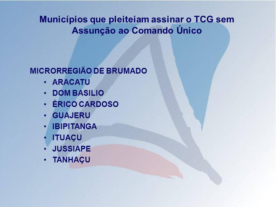 Municípios que pleiteiam assinar o TCG sem Assunção ao Comando Único MICRORREGIÃO DE BRUMADO ARACATU DOM BASILIO ÉRICO CARDOSO GUAJERU IBIPITANGA ITUA