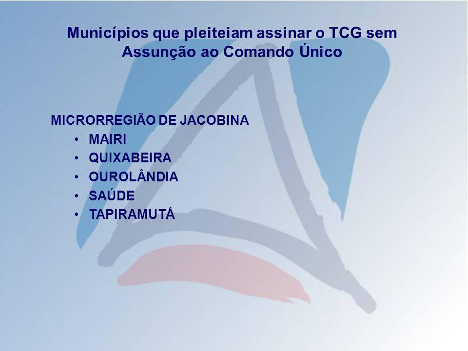 Municípios que pleiteiam assinar o TCG sem Assunção ao Comando Único MICRORREGIÃO DE CRUZ DAS ALMAS GOVERNADOR MANGABEIRA CONCEIÇÃO DA FEIRA
