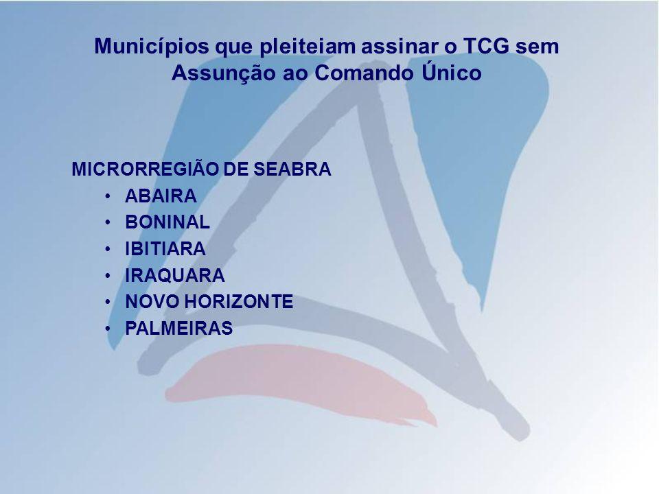 Municípios que pleiteiam assinar o TCG sem Assunção ao Comando Único MICRORREGIÃO DE SEABRA ABAIRA BONINAL IBITIARA IRAQUARA NOVO HORIZONTE PALMEIRAS