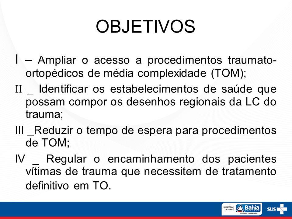 OBJETIVOS I – Ampliar o acesso a procedimentos traumato- ortopédicos de média complexidade (TOM); II _ Identificar os estabelecimentos de saúde que po