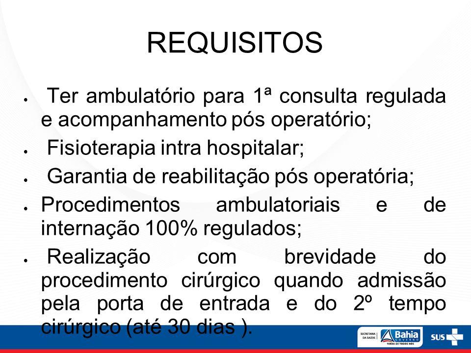 REQUISITOS Ter ambulatório para 1ª consulta regulada e acompanhamento pós operatório; Fisioterapia intra hospitalar; Garantia de reabilitação pós oper
