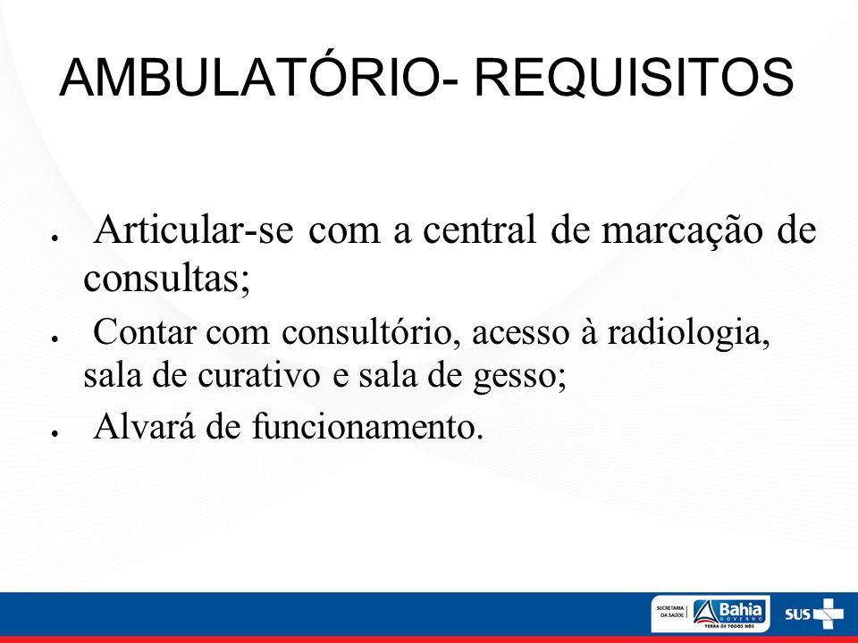 AMBULATÓRIO- REQUISITOS Articular-se com a central de marcação de consultas; Contar com consultório, acesso à radiologia, sala de curativo e sala de g