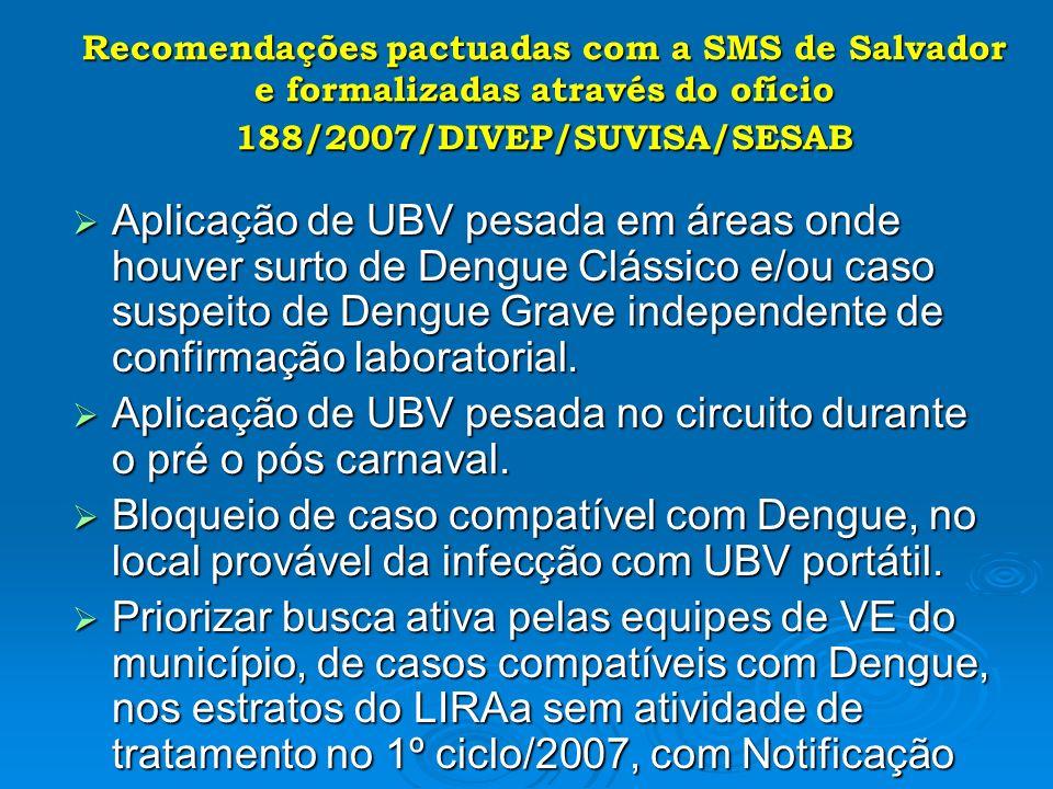 Recomendações pactuadas com a SMS de Salvador e formalizadas através do ofício 188/2007/DIVEP/SUVISA/SESAB Aplicação de UBV pesada em áreas onde houve