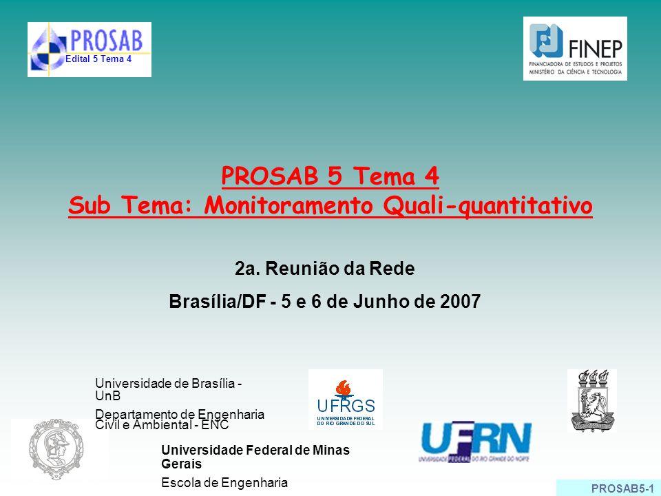 PROSAB5-1 PROSAB 5 Tema 4 Sub Tema: Monitoramento Quali-quantitativo 2a. Reunião da Rede Brasília/DF - 5 e 6 de Junho de 2007 Edital 5 Tema 4 Universi