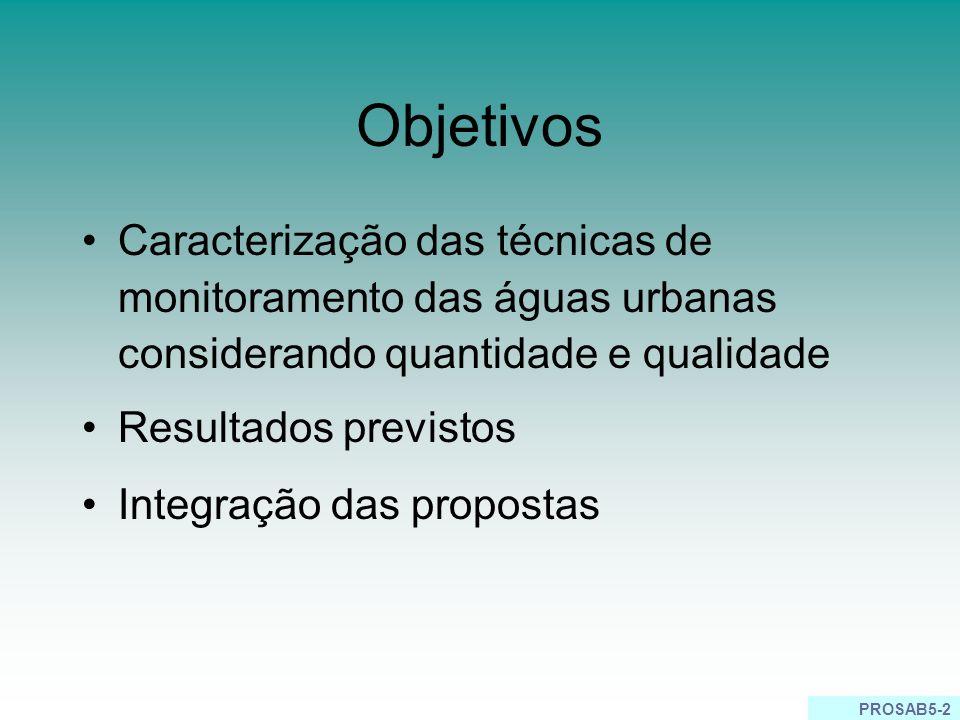 PROSAB5-2 Objetivos Caracterização das técnicas de monitoramento das águas urbanas considerando quantidade e qualidade Resultados previstos Integração das propostas