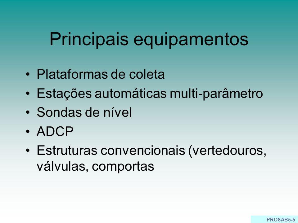 PROSAB5-5 Principais equipamentos Plataformas de coleta Estações automáticas multi-parâmetro Sondas de nível ADCP Estruturas convencionais (vertedouro
