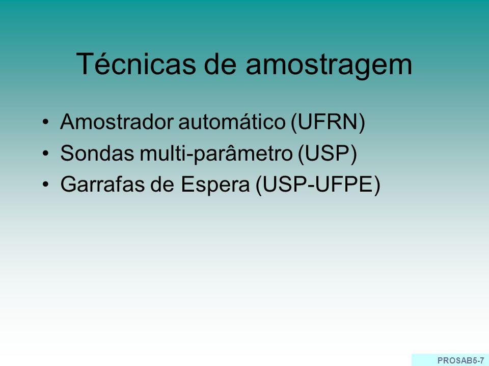 PROSAB5-7 Técnicas de amostragem Amostrador automático (UFRN) Sondas multi-parâmetro (USP) Garrafas de Espera (USP-UFPE)