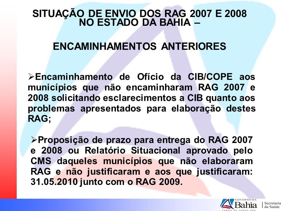 Encaminhamento de Ofício da CIB/COPE aos municípios que não encaminharam RAG 2007 e 2008 solicitando esclarecimentos a CIB quanto aos problemas aprese