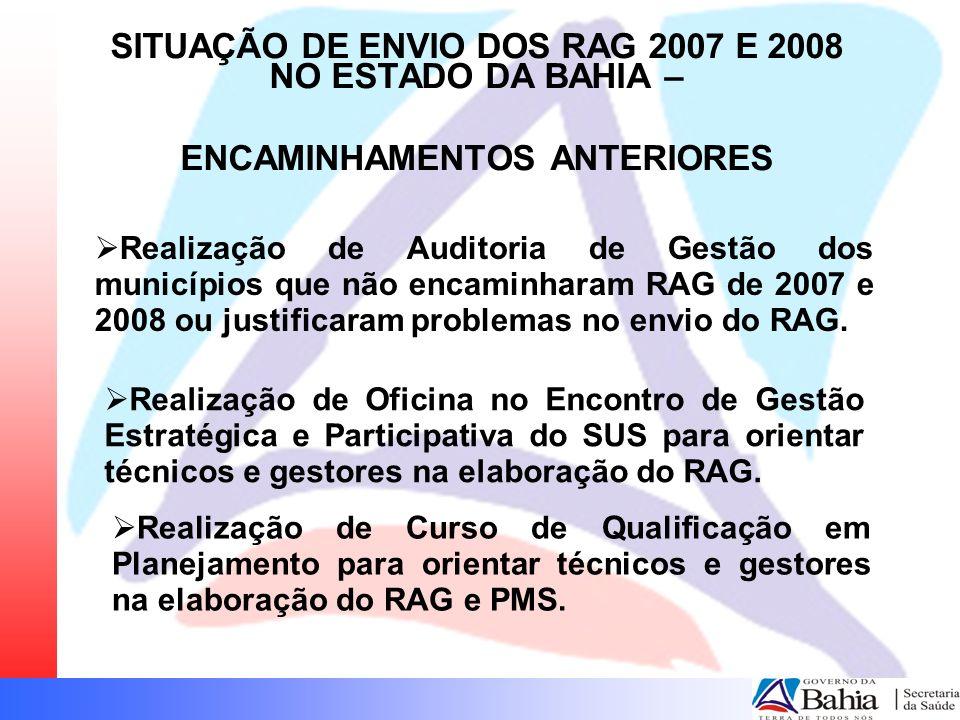 Realização de Auditoria de Gestão dos municípios que não encaminharam RAG de 2007 e 2008 ou justificaram problemas no envio do RAG. Realização de Ofic