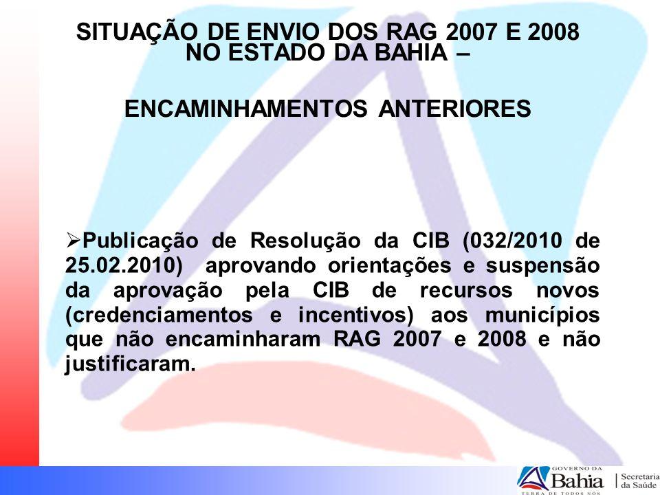 Publicação de Resolução da CIB (032/2010 de 25.02.2010) aprovando orientações e suspensão da aprovação pela CIB de recursos novos (credenciamentos e i