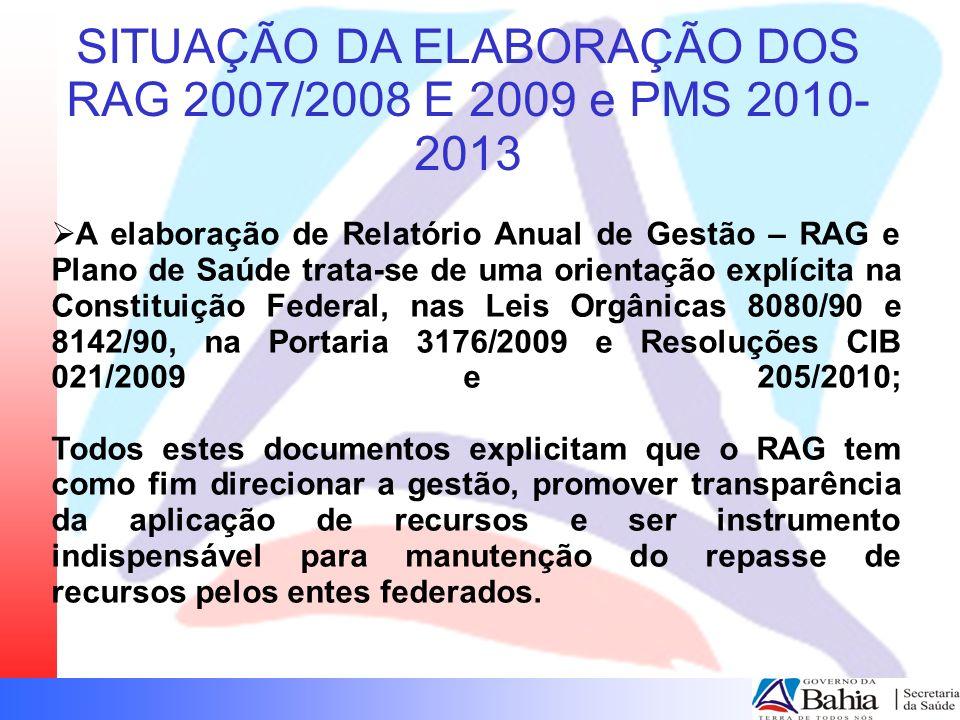 SITUAÇÃO DA ELABORAÇÃO DO RAG 2007 04 (1%) municípios não encaminharam o RAG aprovado pelo Conselho Municipal de Saúde para a CIB e não apresentaram justificativas: Cansanção, Carinhanha, Dário Meira e Santa Maria da Vitória.