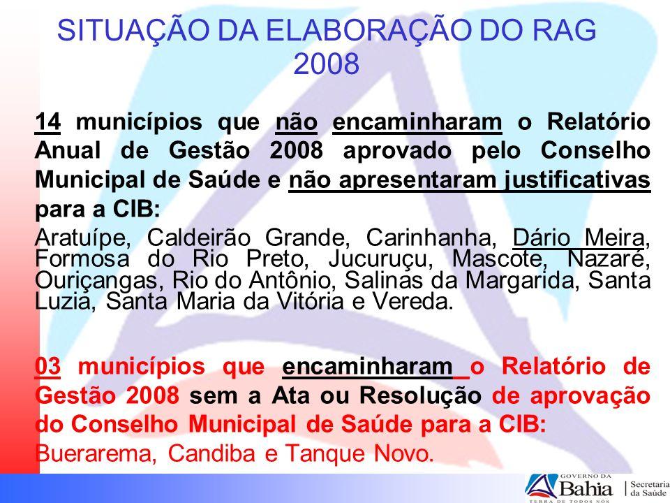 SITUAÇÃO DA ELABORAÇÃO DO RAG 2008 10 municípios que não encaminharam o Relatório de Gestão 2008 aprovado pelo Conselho Municipal de Saúde e apresentaram justificativas para a CIB: (justificativas Anexo II) Cabaceiras do Paraguaçu, Dom Basílio, Feira da Mata, Guajeru, Irajuba, Itabuna, Lajedão, Maragogipe, Quixabeira, Serrolândia.