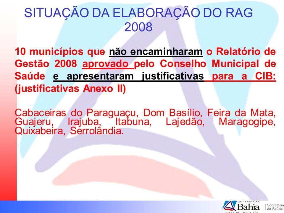SITUAÇÃO DA ELABORAÇÃO DO RAG 2008 11 municípios apresentaram justificativa diferenciada para a CIB quanto a ausência da entrega do RAG 2008 (justificativas Anexo 1): Apuarema Capela do Alto Alegre, Itaparica, Nova Fátima, Pé de Serra, Vera Cruz– Moveu ação contra o gestor anterior no MP Coaraci, Dias D Ávila, Ibirataia, Jacobina, Rio de Contas – CMS reprovou o RAG 2008.