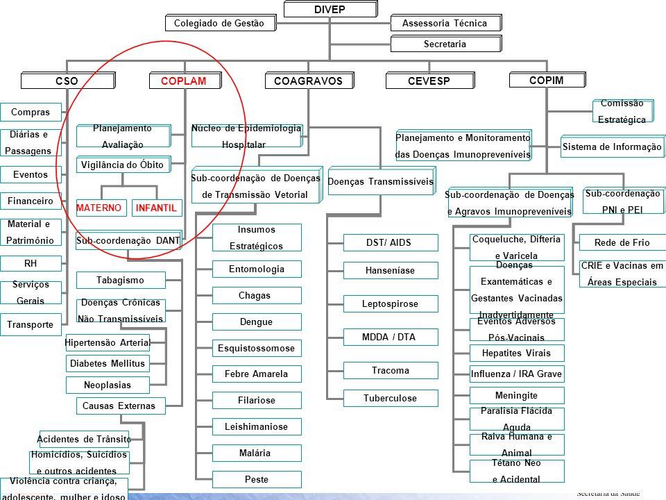 DIVEP CSOCOAGRAVOS COPIM Assessoria Técnica COPLAM Compras Diárias e Passagens Sub-coordenação DANT Eventos Financeiro Material e Patrimônio Vigilânci
