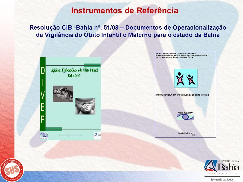 . Resolução CIB -Bahia nº. 51/08 – Documentos de Operacionalização da Vigilância do Óbito Infantil e Materno para o estado da Bahia Instrumentos de Re