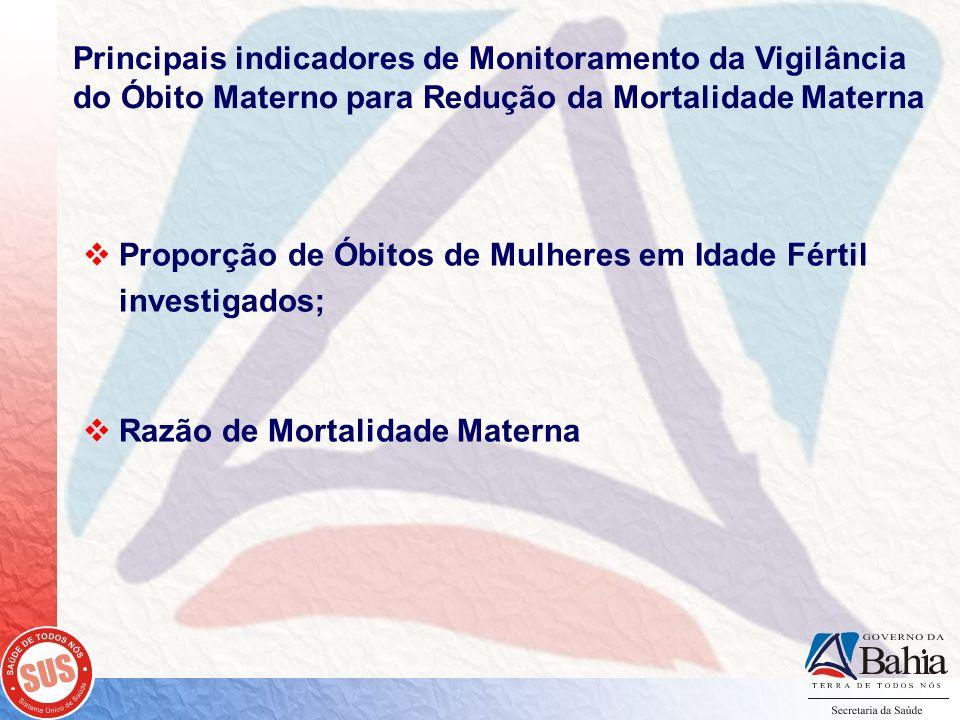 Proporção de Óbitos de Mulheres em Idade Fértil investigados; Razão de Mortalidade Materna Principais indicadores de Monitoramento da Vigilância do Ób