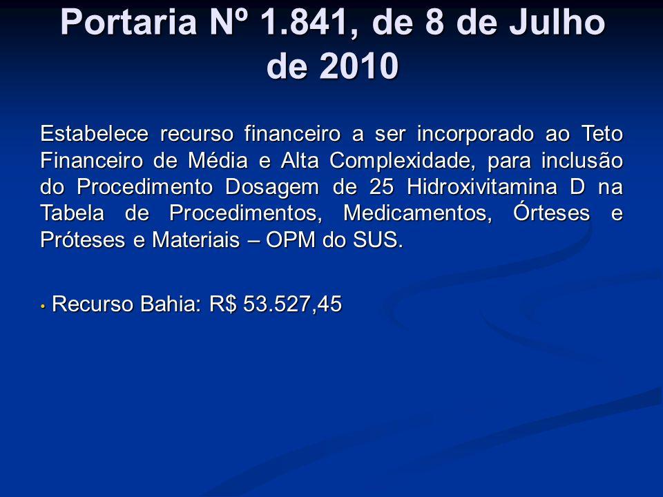 Portaria Nº 1.841, de 8 de Julho de 2010 Estabelece recurso financeiro a ser incorporado ao Teto Financeiro de Média e Alta Complexidade, para inclusã