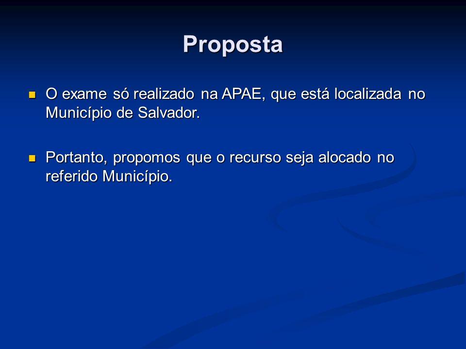 Proposta O exame só realizado na APAE, que está localizada no Município de Salvador. O exame só realizado na APAE, que está localizada no Município de