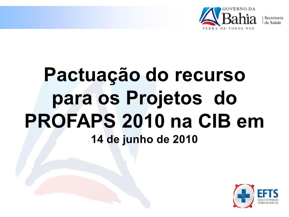 Pactuação do recurso para os Projetos do PROFAPS 2010 na CIB em 14 de junho de 2010
