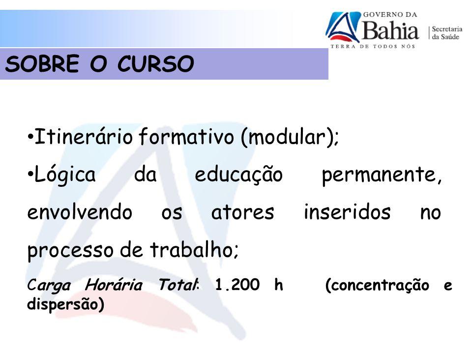 Itinerário formativo (modular); Lógica da educação permanente, envolvendo os atores inseridos no processo de trabalho; SOBRE O CURSO