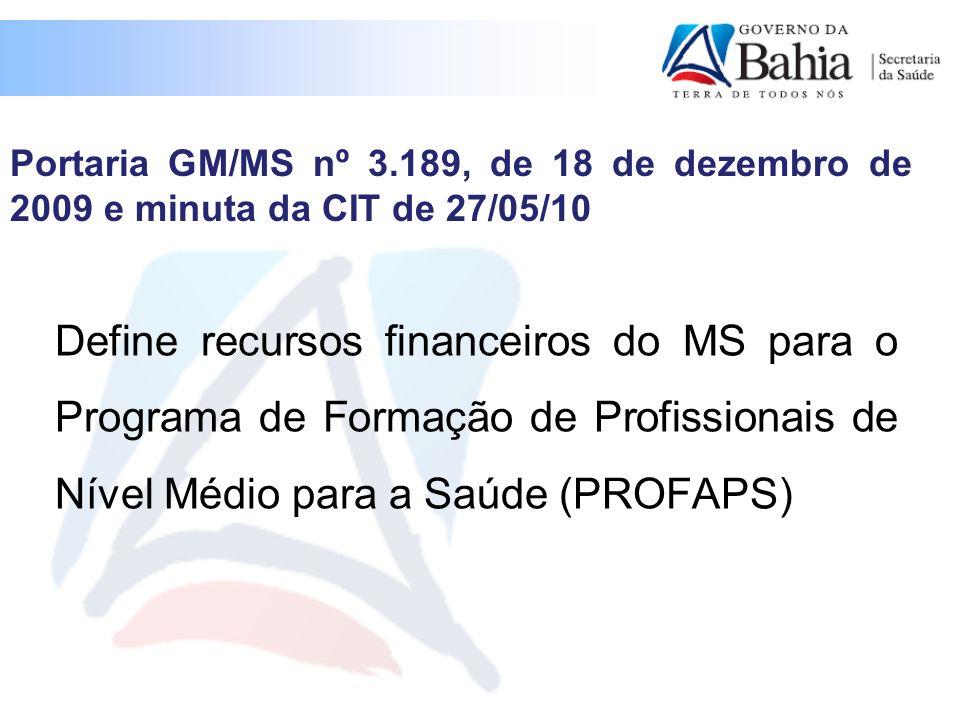 Define recursos financeiros do MS para o Programa de Formação de Profissionais de Nível Médio para a Saúde (PROFAPS) Portaria GM/MS nº 3.189, de 18 de dezembro de 2009 e minuta da CIT de 27/05/10