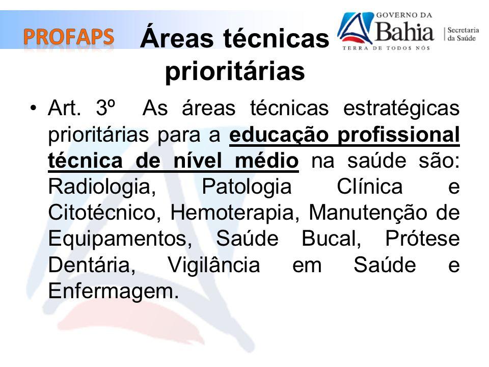 Áreas técnicas prioritárias Art. 3º As áreas técnicas estratégicas prioritárias para a educação profissional técnica de nível médio na saúde são: Radi